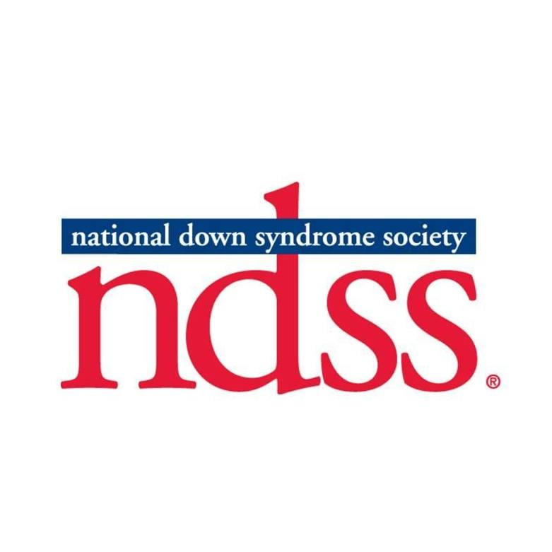 National Down Syndrome Society Logo With Blue Letters and Red Acronym